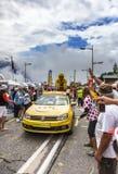 Werbewohnwagen auf Alpe d'Huez Lizenzfreie Stockfotografie