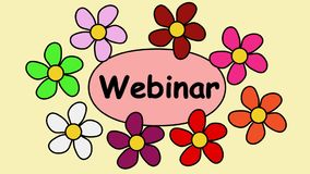 Werbung Clip Video-4k mit der Aufschrift webinar Fliegende Blumen um den Text webinar vektor abbildung
