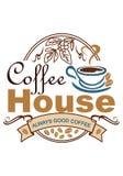 Werbung das Plakat für ein Café auf einem weißen Hintergrund, gemalt mit Farbbildern, von denen ein Tasse Kaffee Dampf in kommt stock abbildung