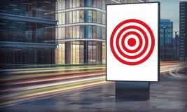 Werbung der Zielanschlagtafel in der Stadtnacht stockbild