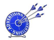 Werbung im blauen Farbschlag-Ziel Stockbilder