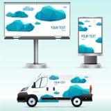Werbung im Freien der Schablone oder Unternehmensidentitä5 auf dem Auto, der Anschlagtafel und dem citylight Stockbild