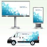 Werbung im Freien der Schablone oder Unternehmensidentitä5 auf dem Auto, der Anschlagtafel und dem citylight Stockbilder