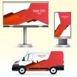 Werbung im Freien der Schablone oder Unternehmensidentitä5 auf dem Auto, der Anschlagtafel und dem citylight Stockfotos