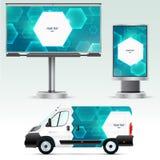 Werbung im Freien der Schablone oder Unternehmensidentitä5 auf dem Auto, der Anschlagtafel und dem citylight Lizenzfreie Stockbilder