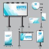 Werbung- im Freiendesign des Vektors für Firma mit Farbkreisen Stockfotos