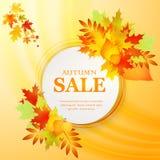 Werbungsrabattfahne mit gefallenen Blättern Herbstverkaufshand gezeichnet Auch im corel abgehobenen Betrag Stockfotografie