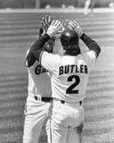 Werden Sie Clark Congratulated durch Brett Butler nach einer Stunde stockfotografie