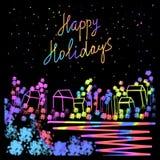 Werden Sie frohe Feiertage mit handgeschriebener Beschriftung, Kalligraphie mit dunklem Hintergrund für Logo, Fahnen, Aufkleber,  Stockbild