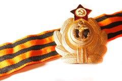 Werden Sie mit St- Georgebandkriegsmarine der UDSSR deutlich Lizenzfreies Stockfoto