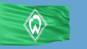 Werder Bremen flag is waving. Editorial animation stock footage