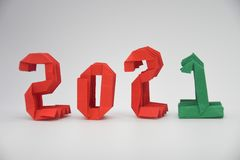 Happy New Year 2021 with red/green numbers