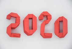 Happy New Year 2020 with red numbers