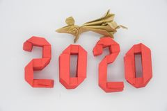 Happy New Year 2020 with red numbers and mouse