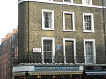 Charles Dickens Coffee House in Wellington Street London. These were the offices of his weekly magazine, All The Year Round, where Dickens lived and worked Royalty Free Stock Photos