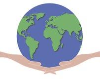 Wereld 1 van de Holding van handen Stock Foto's