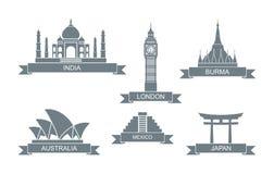 Wereld architecturale aantrekkelijkheden Gestileerde vlakke pictogrammen Taj Mahal, de Big Ben en andere royalty-vrije illustratie
