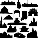 Wereld-beroemde architectuur en overblijfselensilhouet Stock Fotografie