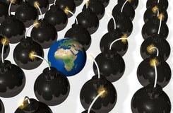 Wereld binnen bommen Stock Afbeeldingen