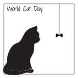 Wereld Cat Day Het silhouet van een kat Royalty-vrije Stock Foto