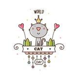 Wereld Cat Day Vector illustratie Stock Foto's