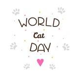 Wereld Cat Day Vector illustratie Stock Fotografie