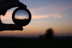Wereld die door de lens wordt gezien Stock Fotografie