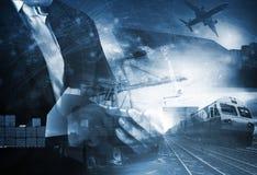 Wereld die met de industrieënvrachtwagen, treinen, schip en luchtvracht Fr handel drijven stock afbeeldingen