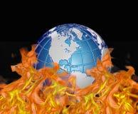 Wereld door vlammen wordt verslonden die Stock Afbeeldingen
