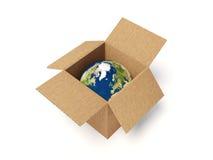 Wereld in doos Royalty-vrije Illustratie