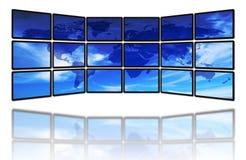 Wereld en de schermen Stock Foto