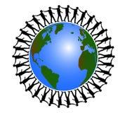 Wereld en reismensen rond de wereld stock illustratie