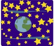 Wereld en sterren (ruimte) royalty-vrije illustratie