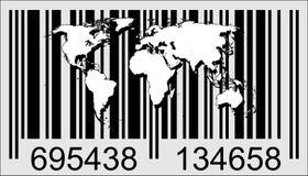 Wereld en streepjescode Stock Foto