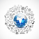 Wereld en technologieconcept met krabbel technolog Stock Afbeelding