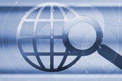 Wereld en vergrootglas stock illustratie