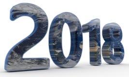2018 Wereld geplateerd concept, het 3d teruggeven Stock Foto