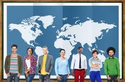 Wereld Globale Bedrijfs Internationale Cartografieglobalisering Stock Afbeeldingen
