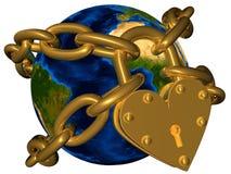 Wereld in gouden ketting en gouden slot Stock Afbeelding