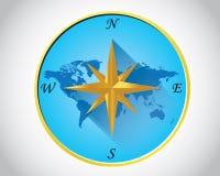 Wereld gouden kompas Royalty-vrije Stock Foto's