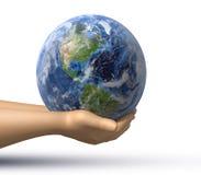 Wereld in handen Stock Afbeelding