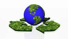 Wereld in het recyclingssymbool Stock Afbeeldingen