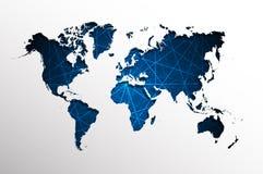 Wereld kaart-abstracte blauwe rechte lijnen Royalty-vrije Stock Fotografie
