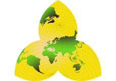 wereld, kaart, wereld-bloem ond Stock Illustratie