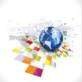 Wereld met abstract futuristisch grafisch malplaatje voor communicatio Stock Fotografie