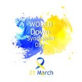 Wereld onderaan de kaart van de Syndroomdag Stock Afbeeldingen