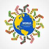 Wereld onderaan syndroomdag met gele en blauwe wereld en partijen van het vectorontwerp van de sokkenbanner royalty-vrije illustratie