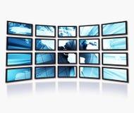 Wereld op de schermen Stock Afbeelding