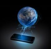 Wereld op uw apparaat Stock Afbeeldingen