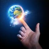 Wereld op uw Vingertop Stock Foto's